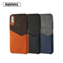 REMAX Cell Phone Card Solt Wallet Case for IPhone X Absolute Protection PU Fabric Bussiness Back Covers Fitted Phone Bag Coque(China)
