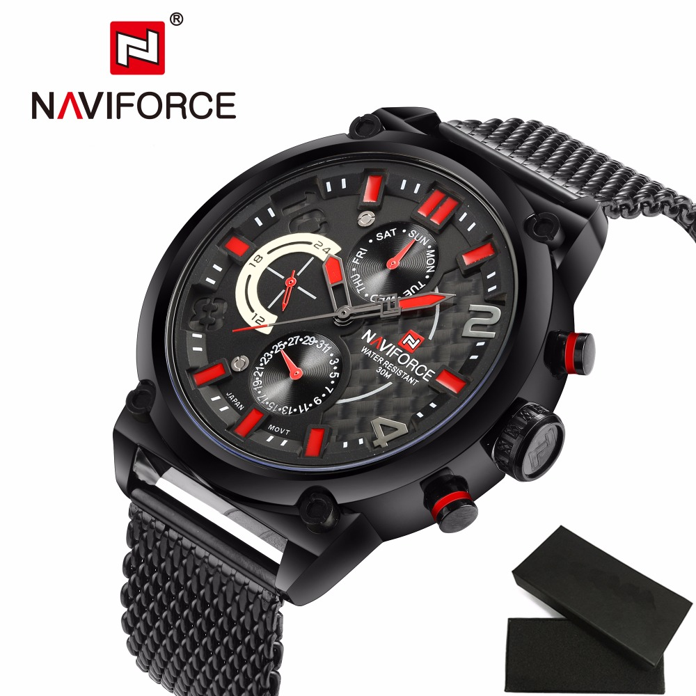 Luxury Brand Quartz Watch Men Casual Sport Watches Fashion Steel Strap Military Waterproof Wristwatch NAVIFORCE Men Clock LX50<br>