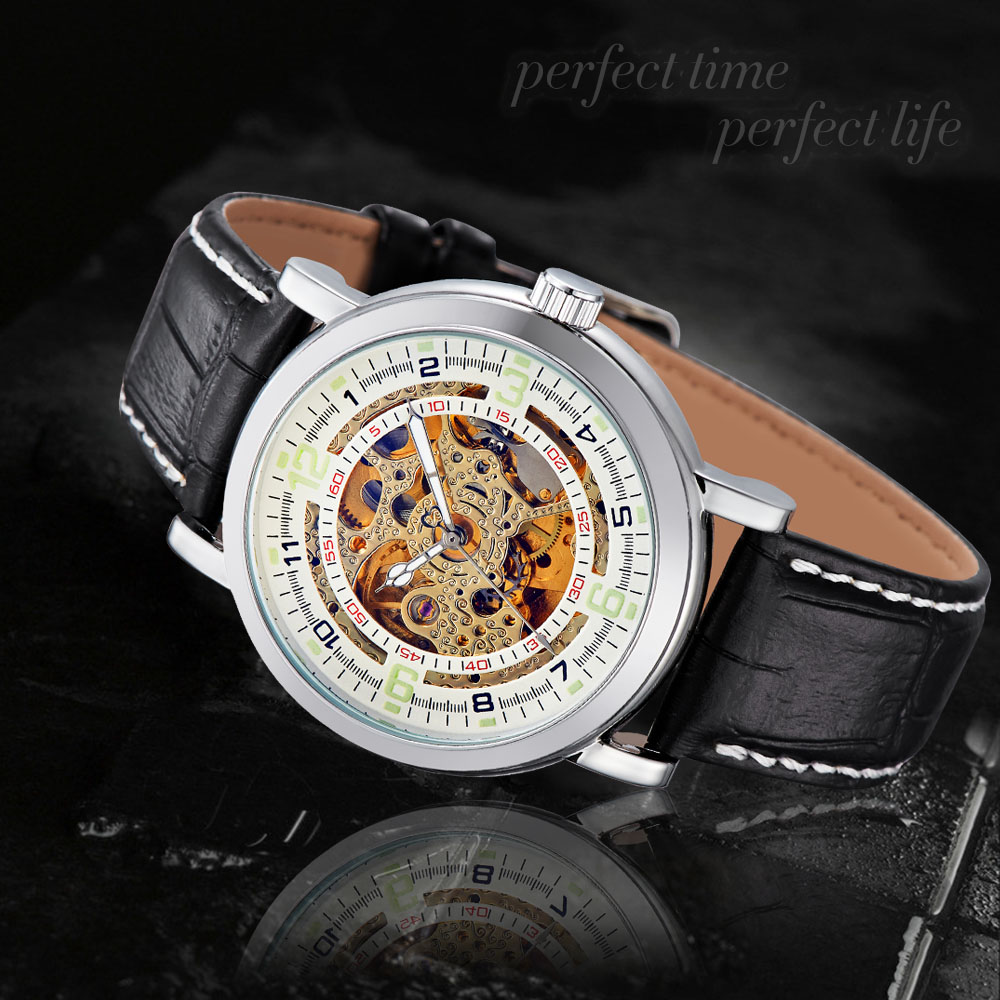 New Ouyawei Automatic Self-Wind Mechanical Men Luxury Skeleton Brand Leather Wristwatch<br><br>Aliexpress