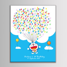 Creative Customized Canvas Cute Cartoon Baby Shower Kids Birthday Party Fingerprint Signature Painting Guest Book With Ink Pad