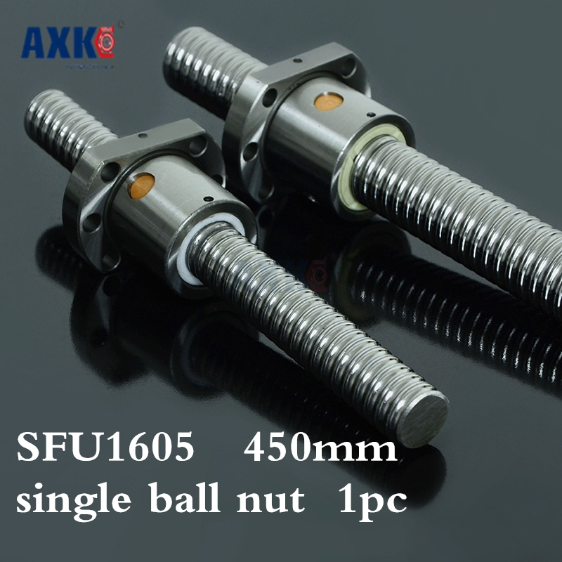 Axk Free Shipping Sfu1605 450mm Rm1605 450mm Rolled Ball Screw 1pc+1pc Ball Nut For Sfu1605 No End Machined<br>