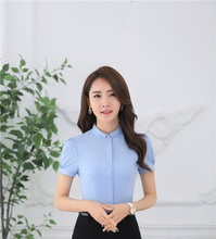 Novelty Blue Slim Fashion Summer Chiffon Blouse & Shirts Female Tops Clothes Business Women OL Styles Ladies Blusas Blouses