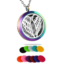 FUNIQUE Yoga Angel Wings Aromatherapy Pendant Necklace Stainless Essential Oils Diffuser Perfume Lockets Necklace Women