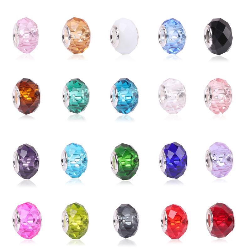 Colorful Big Crystal Facets Beads Fit Pandora Bracelet Charms European Fashion Women DIYJewelry Accessories Free Shipping(China)