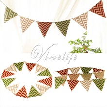 Pennants Burlap Flag Birthday Party Decoration 12 Flags Chevron Mini Natural Hessian Burlap Banner Rustic Wedding Party
