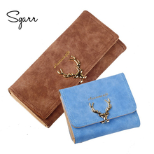 Latest Christmas Deer Women PU Leather Wallet VintageTri-Folds Luxury Cash Purse Girl Long Clutch ID card holders(China)
