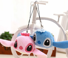 Cute Little 4*3CM Mini 2Colors - Lover Lilo Stitch Plush TOY ; String Pendant TOY Key Chain DOLL ; Stuffed TOY Bouquet DOLL TOY