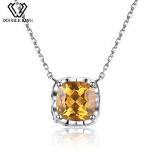 DOUBLE-R Yellow Genuine Natura High Quality Citrine Necklaces 925 Sterling Silver for women Fine Jewelry Necklaces & Pendants(China)