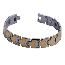 "Mens13MM Titanium Magnetic Therapy Link Bracelet Negative Ion Germanium Power Health Wrist Band 8.5"" Golden Silver Tone"