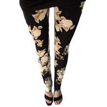 New Rose Flower Printed Leggings Fashion Sexy Women Lady Slim High Elastic Cotton Pants Multiple Colors Styles Trousers In Stock(China)