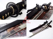 hand forged folded steel japanese samurai katana sword cyclone tsuba sharpened(China)