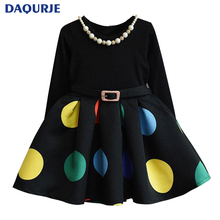 Europe Kids 2017 Autumn Winter Girls Dress Long Sleeve Dot Christmas Princess Dresses Elsa Vestido Infantil Dress Girl Clothes