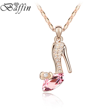 BAFFIN Crystal Sexy High Heels Shaped Necklaces Pendants Made with Swarovski Elements Statement Necklace Jewelry(China)