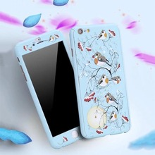 360 Degree Full Body Protector Phone Cases For iPhone 6 6s Plus Cover Fashion 3D Crystal Embossed Matte Flower Case + Glass Film