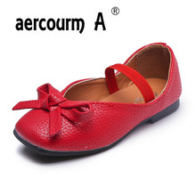 Aercourm A New Girls Bow PU Leather Autumn Soft Bottom Shoes Flat Princess Shoes Comfortable Peas Shoes Casual Sneakers 26-30