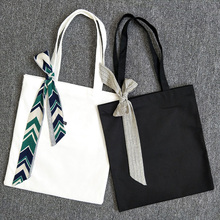 Fashion Plain Black White Solid Colors Handbag High Quality Portable Blank Casual Tote Shoulder Bag Girl's Lovely Shopping Bag
