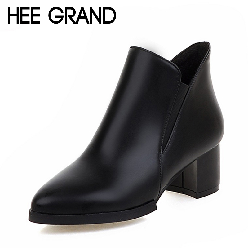 HEE GRAND Women Ankle Boots For 2017 Autumn Solid PU Shoes Woman Point Toe Slip On High Heels Boots Female Size 35-39 XWX4255<br><br>Aliexpress
