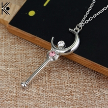 Anime Cartoon Silver Necklace Sailor Moon Stick With Crystal Pendant Necklace Cosplay Christmas girl nice gift(China)