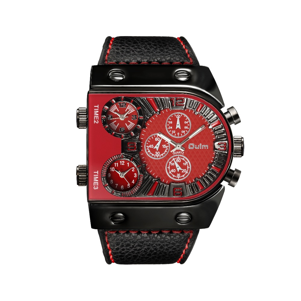 OULM Sport Watch Men Quartz Analog Clock 3 Time Zone Sub-dials Design Big case Oversize Fashion Black Wrist Watches relogio 23