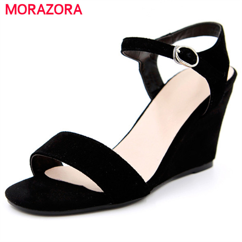 MORAZORA Top quality contracted women shoes buckle solid wedges shoes 8.5cm women sandals kid suede open-toed summer<br>