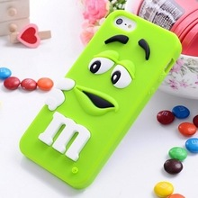 2017 Fashion Lovely Cute M chocolate candy girl women boy soft rubber silicon cartoon cell phone case cover for iphone 4 4s 4G(China)