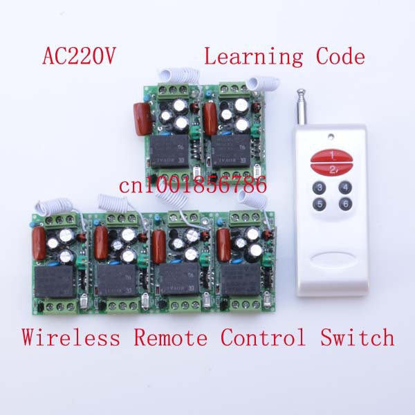 Free Shipping 220V 1CH 315/433Mhz Radio RF Wireless Remote Control Switch System 6 Receiver&amp; transmitter Learning Code mini size<br>