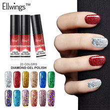 Ellwings Glitter 3D Hybrid Diamond Glitter Gel Nail Polish Sparkles UV for Gel Varnish Top Base Painting Gel Lacquer Nail Design(China)