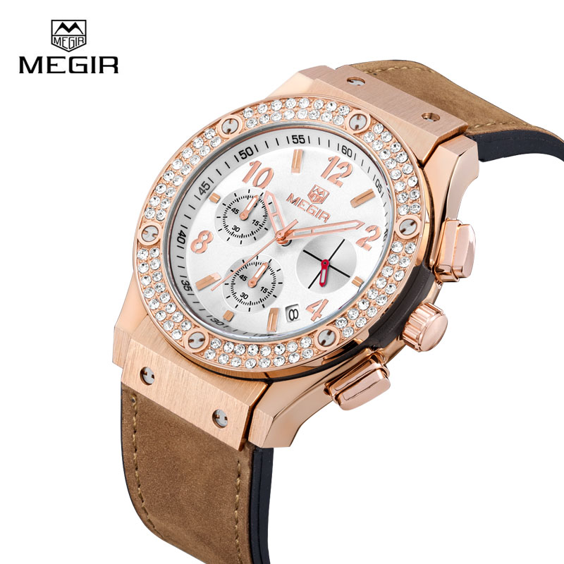 Megir Women Watches Quartz Wristwatches Clock Montre Femme Luxury Leather Silicone Strap Bracelet Rhinestone Ladies Watch Reloj<br>