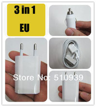 3in1 EU Wall Charger+Mini Car Auto charger+USB Data Cable For IPhone4 4G 4S 3GS for IPod Power Adapter AC Adaptor Europe1set/lot