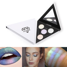 UCANBE Face Duo Chrome Prismatic Highlighter Glow Kit 4 Color Extra Illuminating Powder Palette Makeup Rainbow Shimmer Highlight