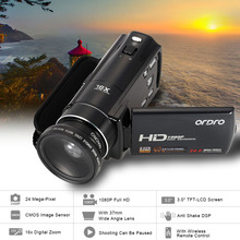 "Oversea Stock ORDRO HDV-V7 Digital Video Camera 3.0"" LCD Screen 1080P 16X Digital Zoom MIni Camera With 0.45X Wide Angle Lens(China)"