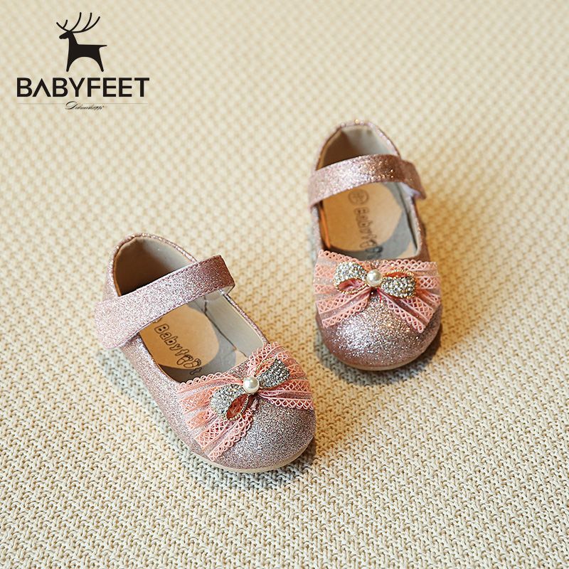 Babyfeet baby shoes 1-3 year old children girls party shoes princes shoes bow toddler girls chaussure enfant Pink Gold Silver<br>