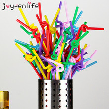 JOY-ENLIFE 100pcs Colorful Food Grade PP Plastic Flexible Bendable Straw Drinking Straw Valentine'S Day Birthday Bar Party Decor