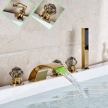 Classic LED Light Waterfall Bath Spout Tub Sink Faucet Widespread Deck Mounted Brass Goldem Bathroom Mixer Taps(China)