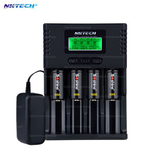 NKTECH H4 18650 battery charge Digicharger LCD Display Charger 14500 16340 26650 VS Nitecore D4 H4+4X Soshine 18350 - lightinthepackage store