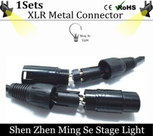 Free Shipping 1sets 3-PIN  XLR metal Connector for DMX Cable, LED PAR stage lights dmx cable dj equipment