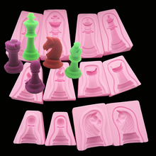 free shipping chess Knight fondant 3D silicone cooking tools wedding decoration molds candy Sugar Craft Soap(China)
