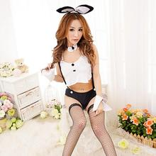 Hot Women Sexy Lingerie Crochet Mesh Hollow Out Baby Doll Bunny Girl Costumes Rabbit Cosplay Sexy Lingerie Suit Uniform(China)