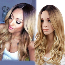 Synthetic Wigs for Black Women Blonde Ombre Wig Natural Cheap Hair Wig Blonde Wig Dark Roots Long Curly Female Fair