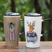 Thousands of simple easy gentleman animal cup ceramic mug with cover glass office coffee lovers cup(China)
