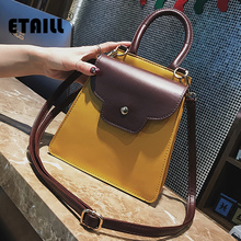 ETAILL Small Petal Flap Top Handle Shoulder Bag 2018 Yellow Women PU Leather Crossbody Messenger bag Small Sling Shoulder Bags(China)