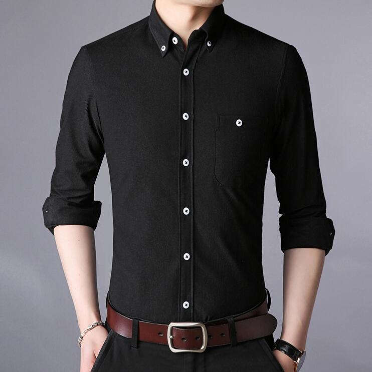 Men Shirt 2018 Spring Autumn Features Shirts Men Casual Shirt New Arrival Stand Collar Long Sleeve Casual Slim Fit Male Shirts