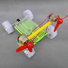 Turn Air Powered Car Double Motor Propeller Toy DIY Assembling Model 18*13*14cm DIY Handmade Toy Kit(China)