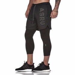 2019 новые спортивные штаны мужские эластичные дышащие поддельные 2 шт Беговые тренировочные брюки тренажерные залы длиной до щиколотки брюк...