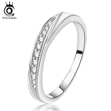 ORSA JEWELS Wholesale Fashion Rings Jewelry Cheap Lead&Nickel Free Silver Color Ring Band with AAA Austrian Cubic Zirconia OR14