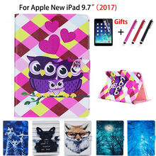 Fashion Print Case Cover For Apple New iPad 9.7 2017 A1822 Case Funda Tablet Book Soft TPU+PU Leather Stand Shell+Stylus+film(China)