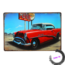 Vintage metal poster MOTEL CAR VINTAGE Tin Sign Bar pub home Wall Decor Retro Metal ART Poster i51