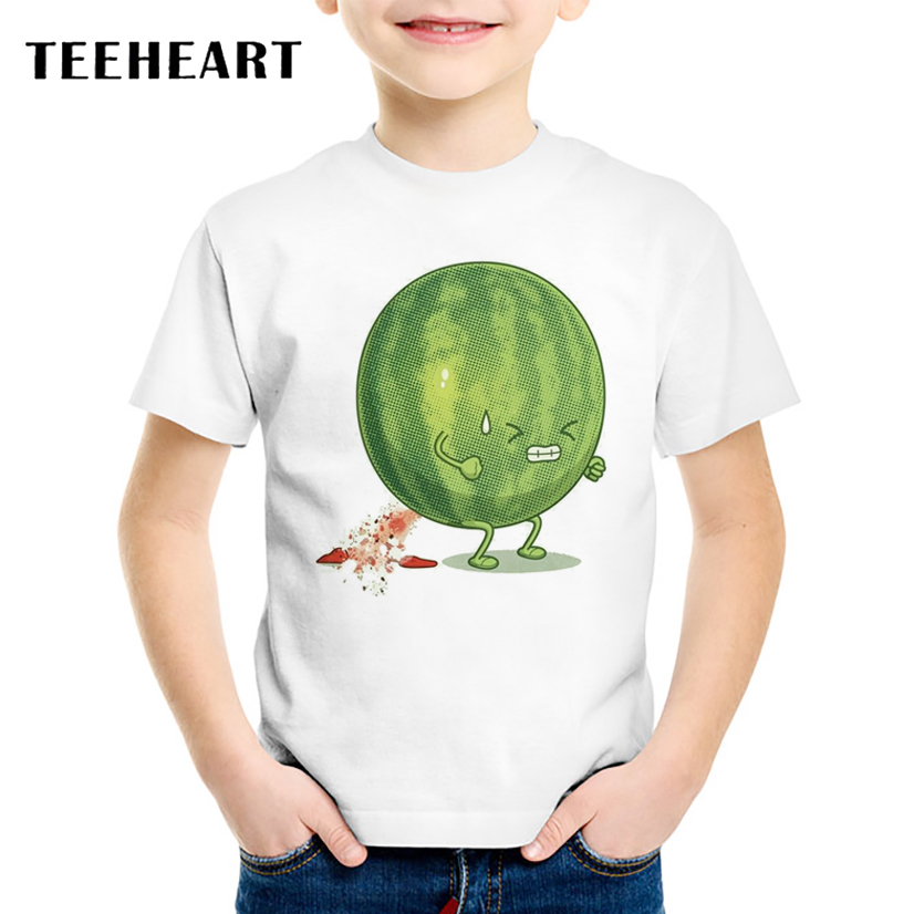 TEEHEART Watermelon Print Boys/girls T Shirts Funny Short Sleeve T-shirt Harajuku Style Fruit Printed Children Casual Tops TA784(China)