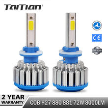 2Pcs/Set 72W 8000LM 6000K COB H27 880 881 Canbus led bulb automotive Car Headlight 12 volt super bright leds auto lights bulbs