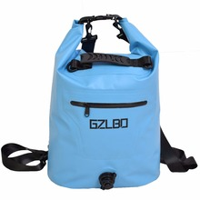 GZLBO 25L Blue 500D PVC Eco-friendly waterproof dual shoulder straps drain valve zipper pocket travel bag dry bag(China)